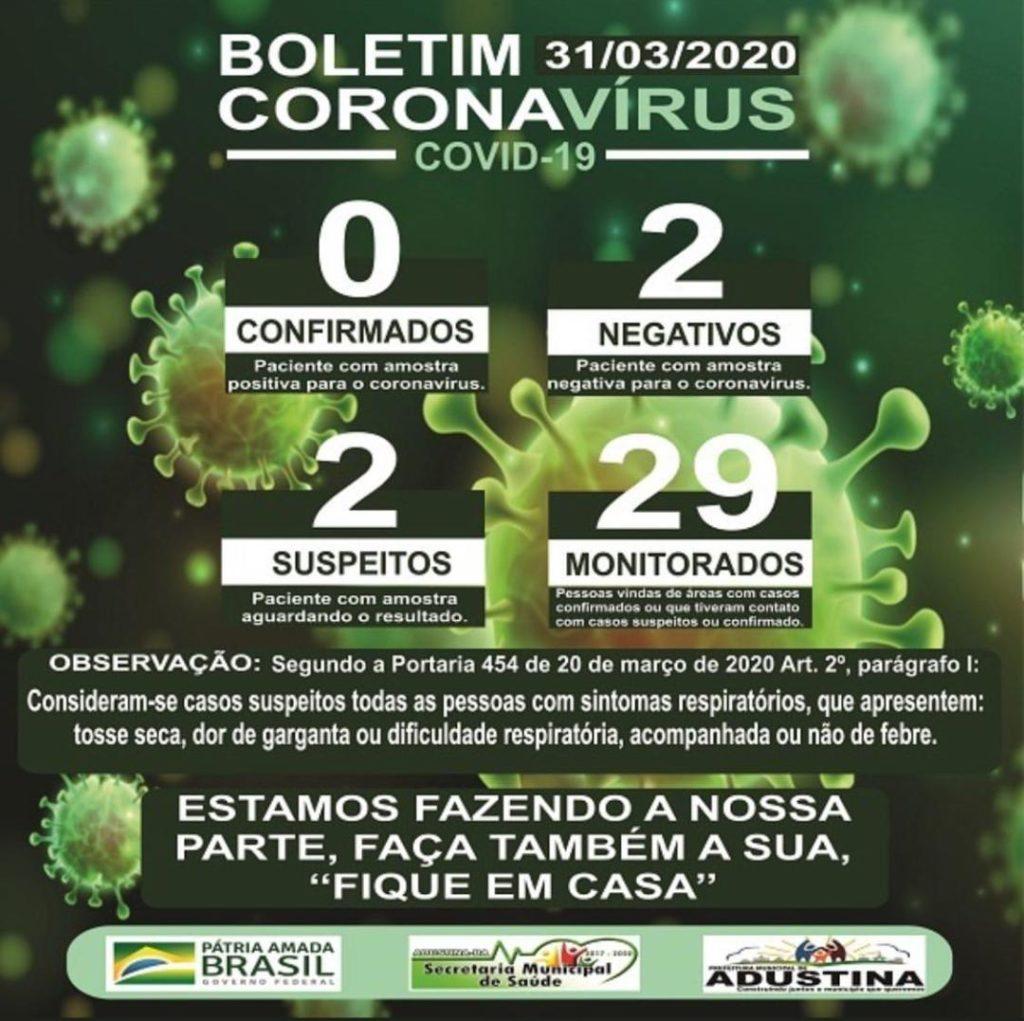 boletim epidemiologico adustina 1024x1021 - Adustina Esclarece Caso Suspeito de Covid-19
